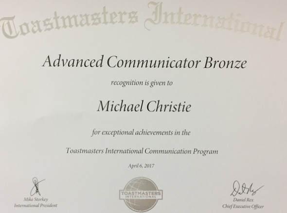 Advanced Communicator Bronze award