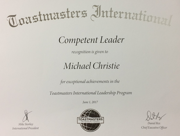 My Latest Toastmasters Achievement My Point Being
