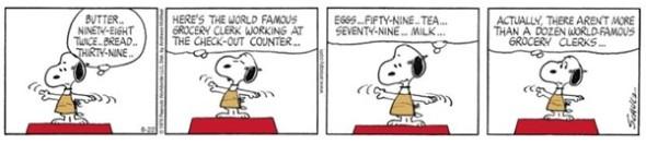 peanuts world famous grocery clerk cartoon