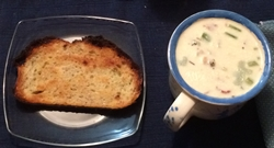 clam chowder and garlic bread