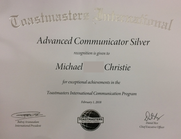 Advanced Communicator Silver certificate